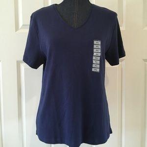 Karen Scott Petites womens blue v-neck t-shirt nwt